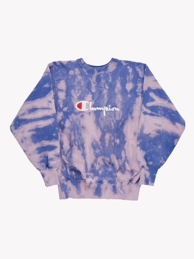Champion Bleach Effect Sweatshirt Blue/Purple Size Large