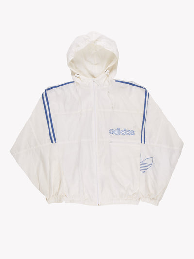 Adidas Windbreaker Style Jacket White/Blue Size Medium