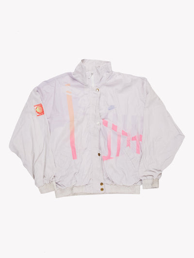 90's Nike Challenge Court Windbreaker Jacket White/Pink Orange Size Large