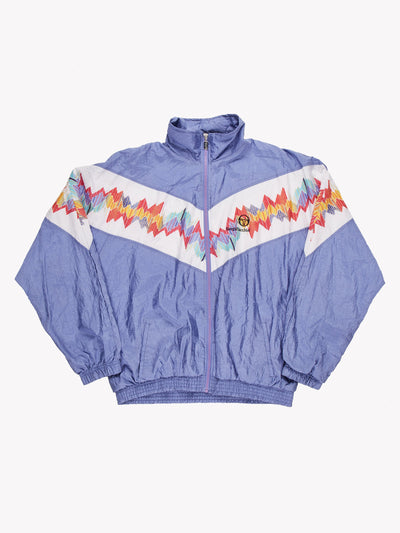 Sergio Tacchini Windbreaker Jacket Purple/White/Red Size XL