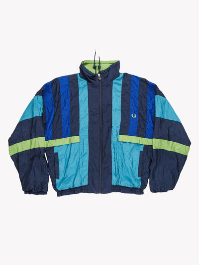 Fred Perry Windbreaker Jacket Blue/Green Size Large