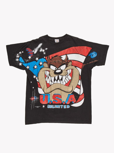 1995 Taz Character T-Shirt Black/Blue/Red Size Large