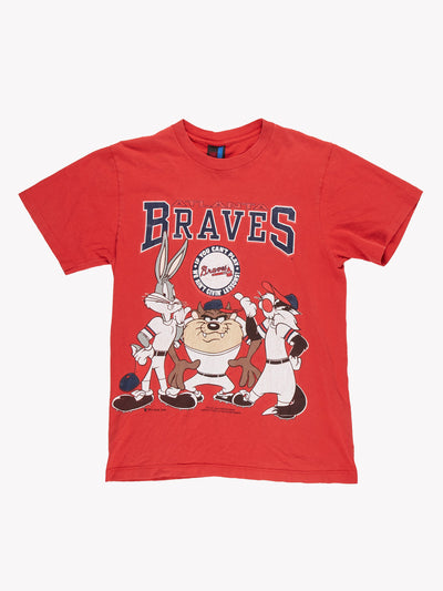 1994 Looney Tunes Atlanta Braves MLB T-Shirt Red/Navy Size Large