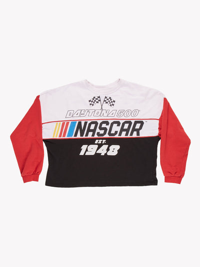 NASCAR Daytona 500 Cropped Sweatshirt White/Red/Black Size Small