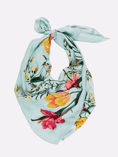Floral Silk Scarf Blue/Green/Pink/Yellow