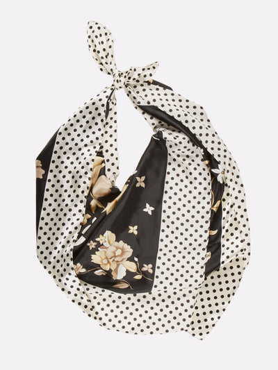 Patterned Silk Scarf Black/White/Yellow