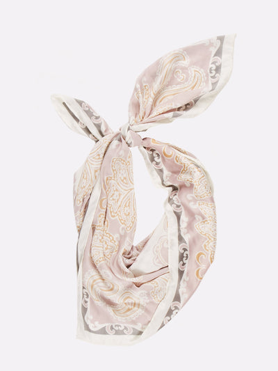 Patterned Silk Scarf Pink/White/Grey