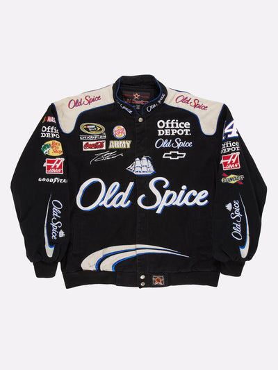Nascar Old Spice Jacket Black/White/Blue Size Large