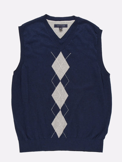 Tommy Hilfiger Sweater Vest Navy/Grey/White Size Large