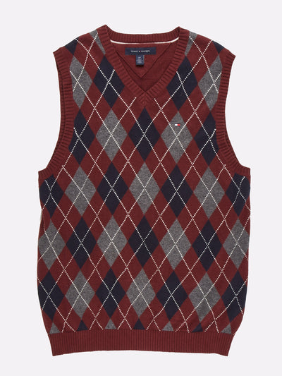 Tommy Hilfiger Sweater Vest Maroon/Grey/Navy Size Small