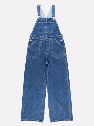 Tommy Hilfiger Wide Leg Dungarees Blue Size Medium