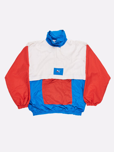 Puma Anorak Jacket White/Red/Blue Size Large
