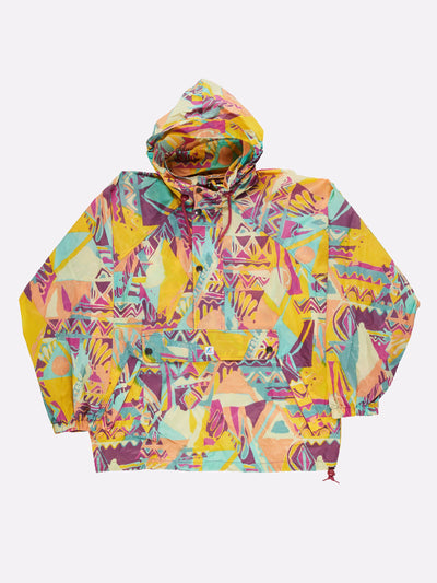 K-Way Pattern Pull Over Anorak Yellow/Pink/Green Size XL