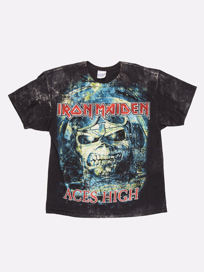 Iron Maiden Aces High T-Shirt Black/Blue/Red Size Large