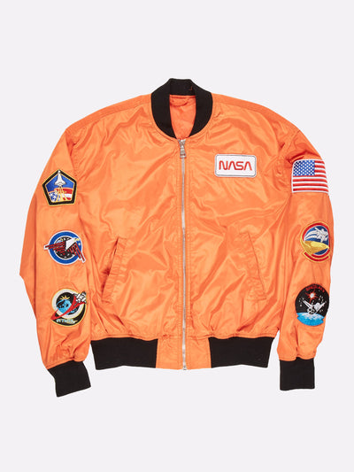 NASA Bomber Jacket with Patch Detail Orange/Black/Multi Size Large
