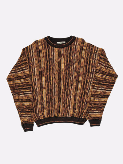 Coogi Style Knit Jumper Brown/Yellow/Black Size XL