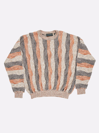 Coogi Style Knit Jumper Orange/Grey/Brown Size XL