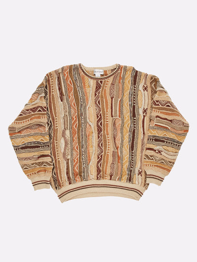 Coogi Style Knit Jumper Cream/Brown/Orange Size Large