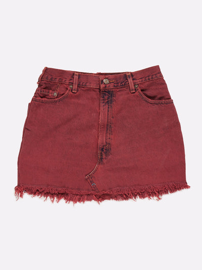 Vintage Overdyed Denim Skirt Red