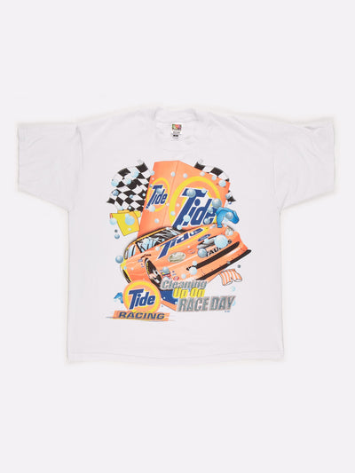 Nascar Ford Tide Racing Graphic T-Shirt White/Orange/Blue Size XL