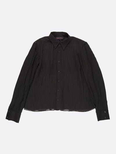 Ralph Lauren Mesh Button Up Shirt Black Size Medium