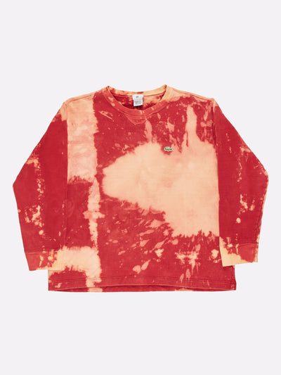 Lacoste Bleach Effect Sweatshirt Red/Yellow Size Large