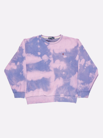 Ralph Lauren Bleach Effect Sweatshirt Blue/Purple Size XL