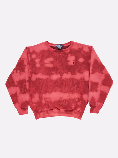 Ralph Lauren Bleach Effect Sweatshirt Red/Pink Size Medium