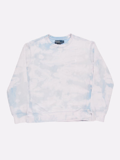 Ralph Lauren Bleach Effect Sweatshirt Blue/White Size Large