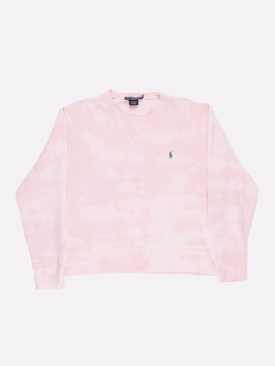 Ralph Lauren Bleach Effect Sweatshirt Pink/White Size Medium