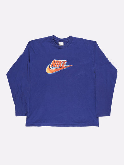 Nike Long Sleeve T-Shirt Blue/Orange Size Large