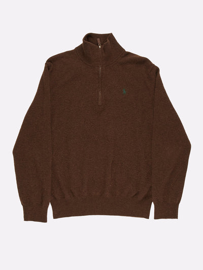 Ralph Lauren 1/4 Zip Sweatshirt Brown Size Large