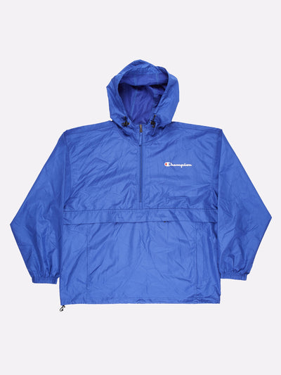 Champion 1/4 Zip Windbreaker Blue/White Size XL