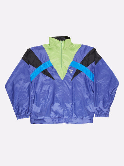 Adidas 1/4 Zip Windbreaker Blue/Green/Black Size Large