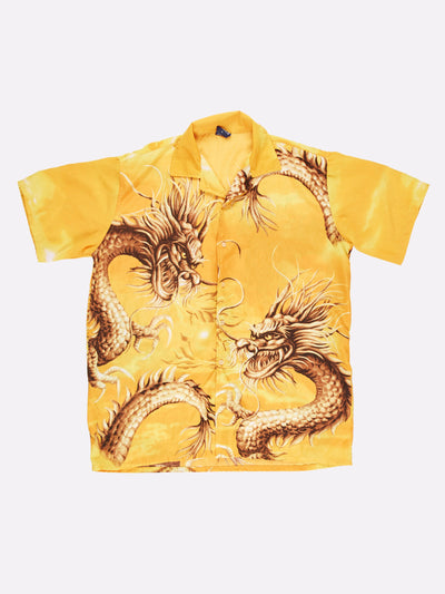Vintage Dragon Overshirt Yellow/Brown Size Large
