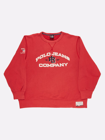 Ralph Lauren Polo Jeans Sweatshirt Red/White Size XL