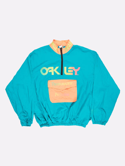 Surfstyle x Oakley 1/4 Zip Windbreaker Blue/Orange/Yellow Size XL
