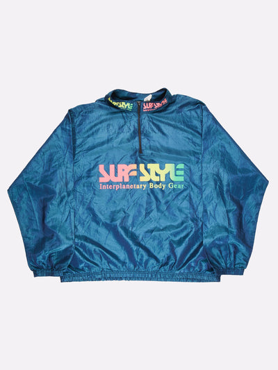 Surfstyle 1/4 Zip Windbreaker Iridescent Blue/Yellow/Pink Size XL