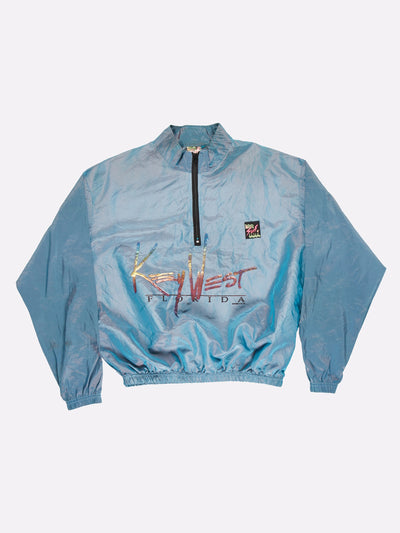 Surfstyle Key West Florida Windbreaker Iridescent Blue/Pink/Gold Size XL