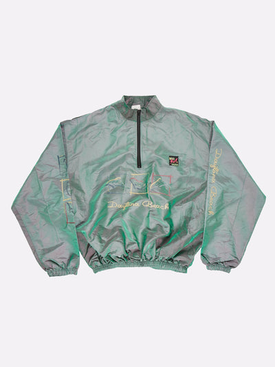 Surfstyle Daytona Beach 1/4 Zip Windbreaker Iridescent Green Size 2XL