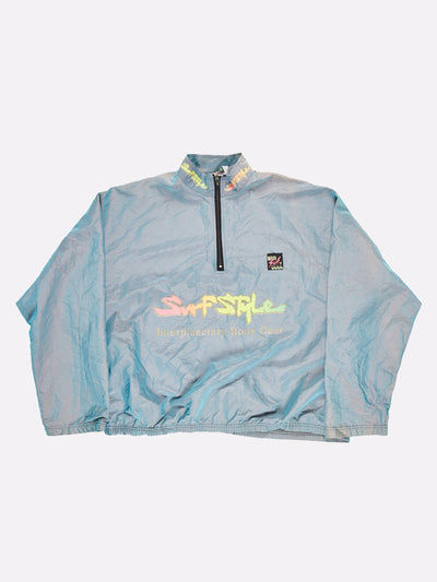 Surfstyle 1/4 Zip Windbreaker Iridescent Blue/Pink/Yellow Size 2XL