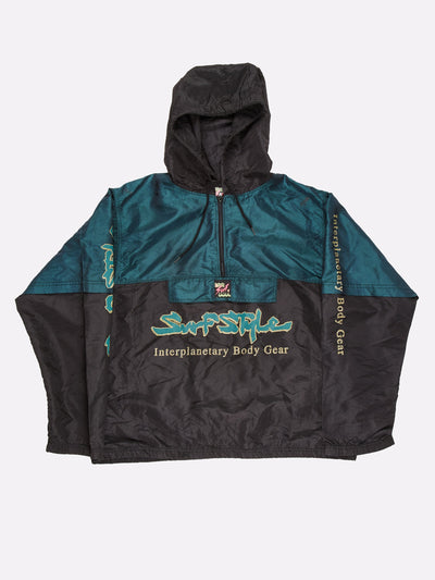 Surfstyle 1/4 Zip Windbreaker with Hood Black/Green Size XL