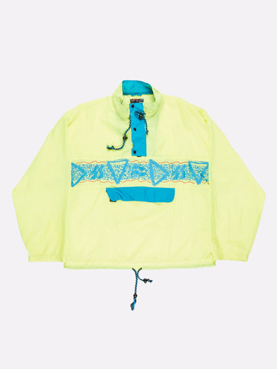 Vintage 1/4 Pullover Windbreaker Fluorescent Yellow Size Large