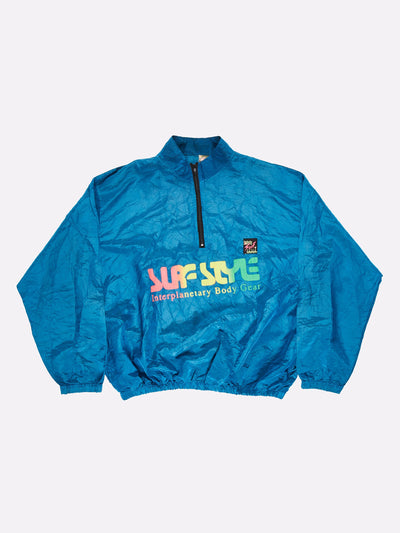 Surfstyle 1/4 Zip Windbreaker Iridescent Blue Size 2XL