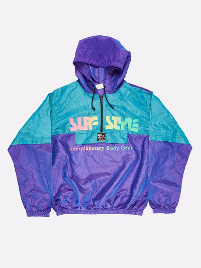 Surfstyle 1/4 Zip Windbreaker with Hood Iridescent Purple/Green Size XL