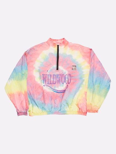 Surfstyle Tie-Dye 1/4 Zip Windbreaker Pink/Yellow/Blue Size 2XL