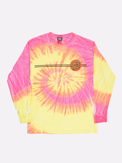 Santa Cruz Tie-Dye Long Sleeve T-Shirt Pink/Yellow/Red Size Small