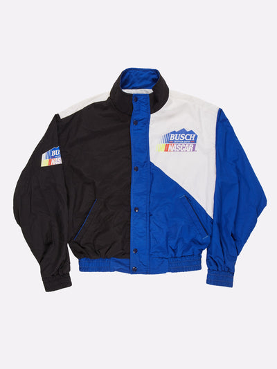 Nascar Busch Beer Jacket Blue/Black/White Size Large