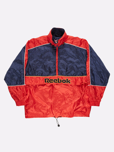 Reebok 1/4 Zip Windbreaker Jacket Red/Navy/Yellow Size XL
