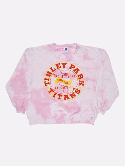 Tie-Dye Tinley Park Titans Football Sweatshirt Pink/Yellow/Red Size XL